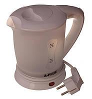 Электрочайник маленький дорожный A-Plus 0,5л 700 Вт Белый с 2 чашками