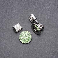 Кнопка Нуса для браслетов зеленые стразы d-20мм