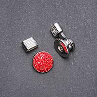 Кнопка Нуса для браслетов красные стразы d-20мм