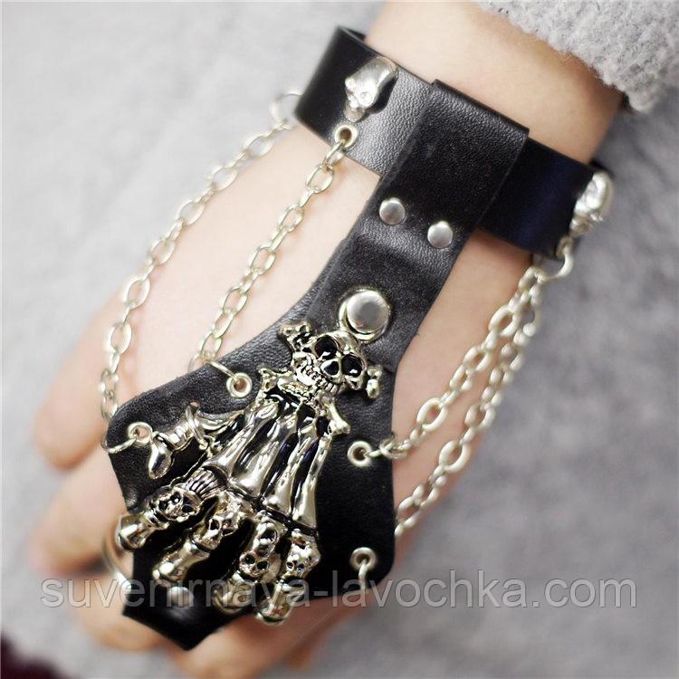 Шкіряний браслет - рукавичка. Готична прикраса