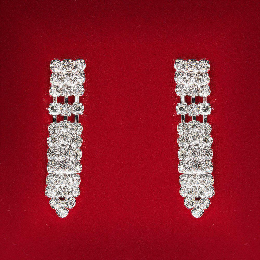 [40 мм] Серьги женские белые стразы светлый металл свадебные вечерние гвоздики (пусеты ) подвески длинные 3 ряда