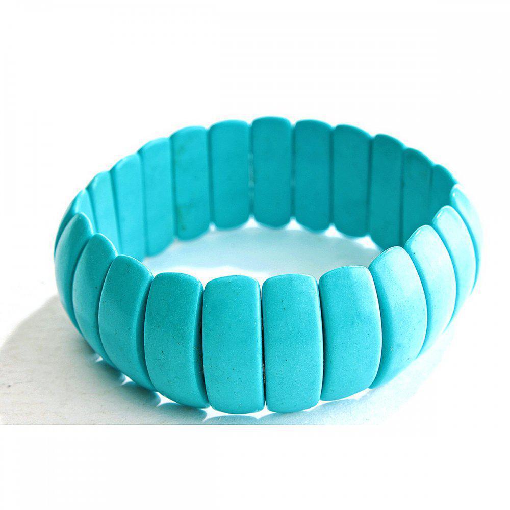 Браслет на резинке голубая Бирюза широкий прямоугольные камни