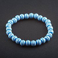 Браслет полосатая бусина на резинке d-8 мм Голубой пластик