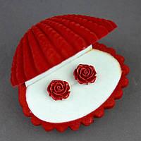 """Серьги """"Роза"""" красная полимерная глина В-13мм"""
