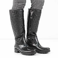 Кожаные черные резиновые сапоги на низком каблуке (весна-осень), 36 размер, код UT81971