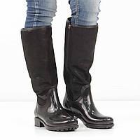 Кожаные черные резиновые сапоги на низком каблуке (весна-осень), 40 размер, код UT81972