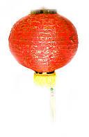 Фонарь красный ткань с бахромой (30 см)