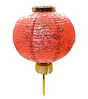 Фонарь красный ткань с бахромой (36 см)