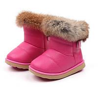 Чобітки дитячі зимові з опушкою рожеві 855a06f48e4fe