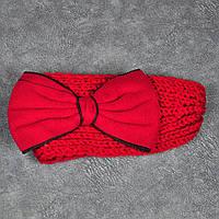 Вязаная повязка на голову красная