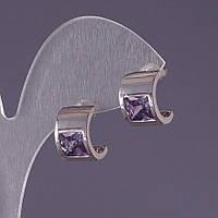 Серьги со светло-сиреневыми кристаллами 13х9мм