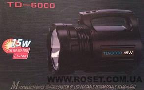 Фонарь ручной аккумуляторный TD-6000 с диодом мощностью 15Вт