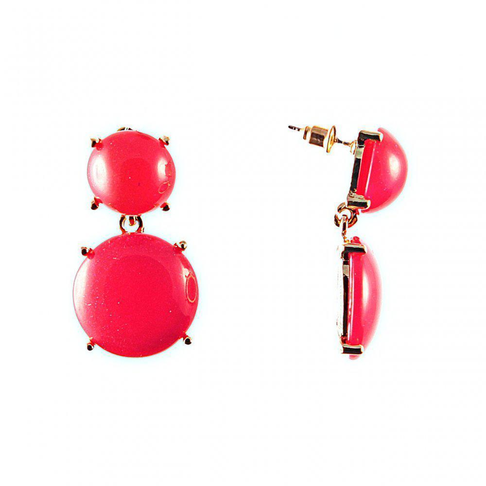 Серьги-гвоздики с подвеской, золотистый металл, красный пластик 35?15mm