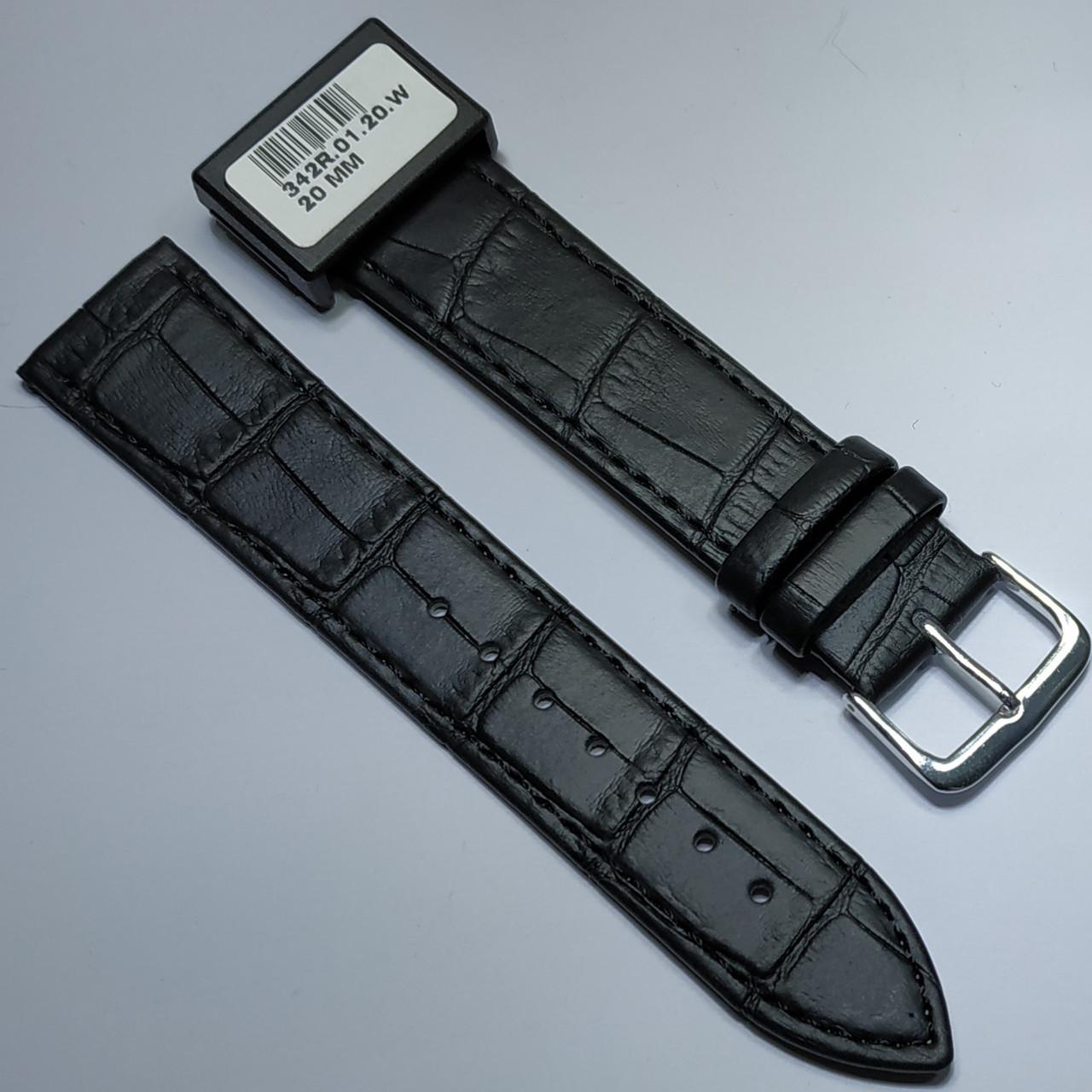 20 мм Кожаный Ремешок для часов CONDOR 342.20.01 Черный Ремешок на часы из Натуральной кожи
