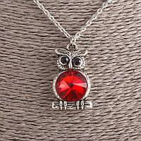 Кулон Сова Соня с красным кристаллом на цепочке d-3х2см L-53см