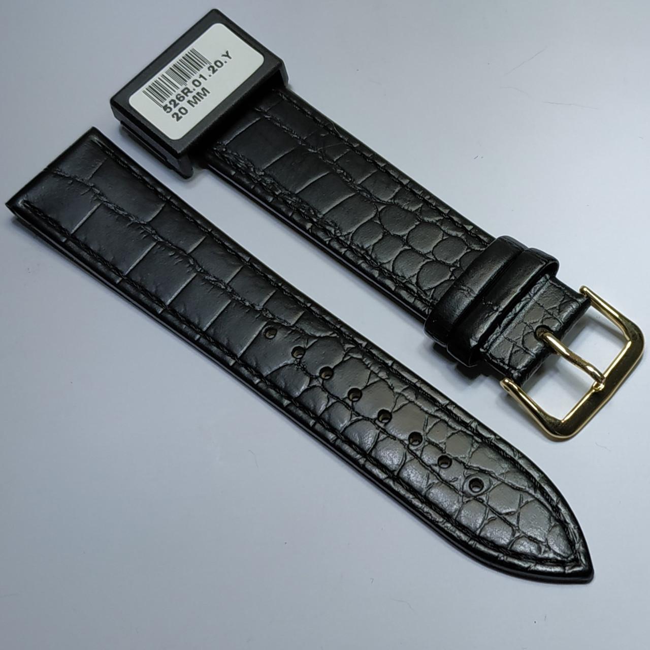 20 мм Кожаный Ремешок для часов CONDOR 526.20.01 Черный Ремешок на часы из Натуральной кожи
