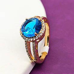 """Кольцо Xuping Jewelry размер 18 """"Камилла"""" голубой камень  медицинское золото, позолота 18К. А/В 2385"""