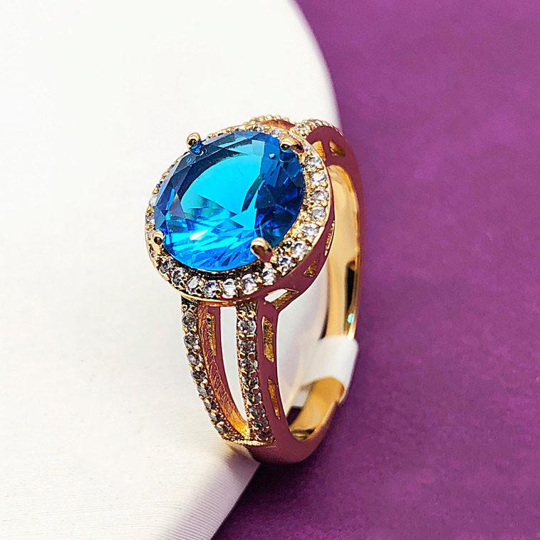 """Кольцо XUPING размер 19 """"Камилла"""" голубой камень  медицинское золото, позолота 18К"""