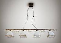 Люстра для небольшой комнаты, 4-х ламповая, на тросах