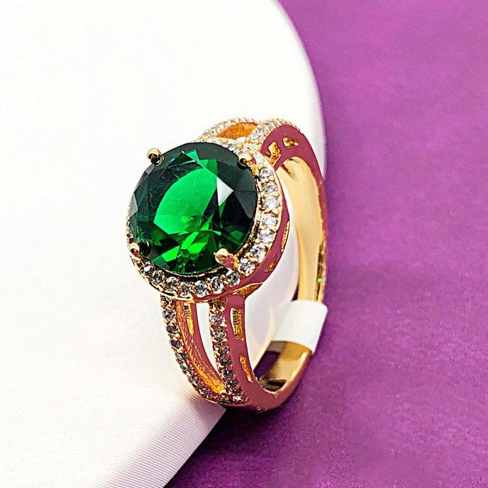 """Кольцо XUPING размер 19 """"Камилла"""" зеленый камень  медицинское золото, позолота 18К"""