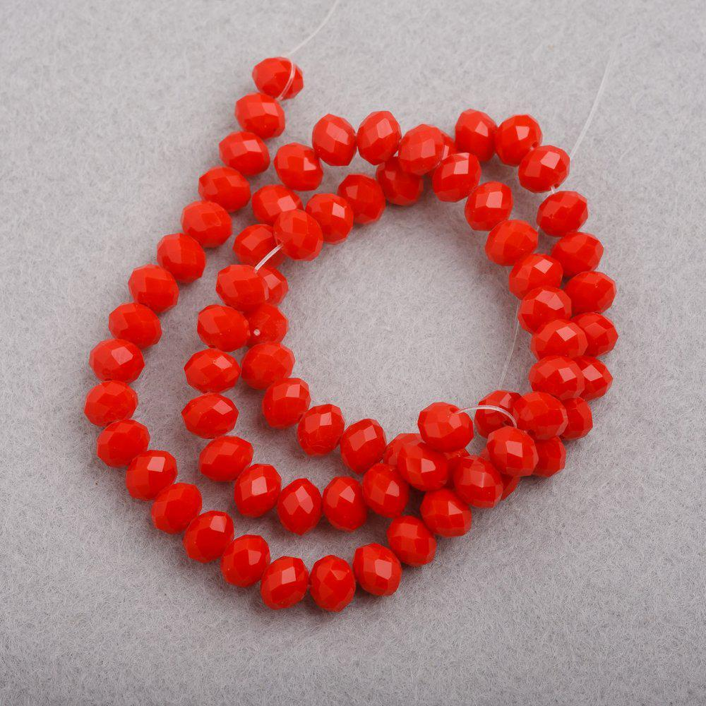 """Бусины """"рондель"""" хрустальные на нитке d-8 мм стекло матовый цвет морковный """"Оранжевый"""" L-41см"""