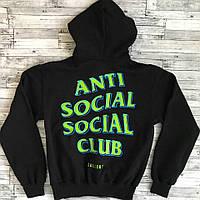 Модная черная толстовка Anti Social Social Club Худи зелееый принт (РЕПЛИКА)