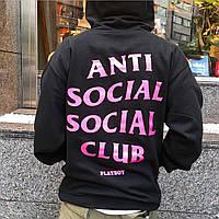 Толстовка Anti Social Social Club Худи черная розовый принт (РЕПЛИКА)