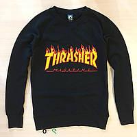 Чорний світшот Thrasher Трешер з оригінальною маркою кофта (РЕПЛІКА), фото 1