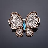Брошь Бабочка бирюзовый кристалл