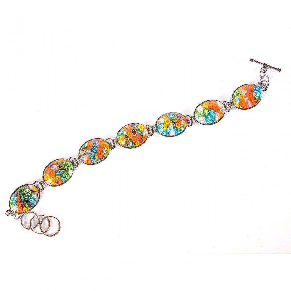 [20 см] Браслет женский пресовка цветы 7 камней овал на Тогл муранское стекло
