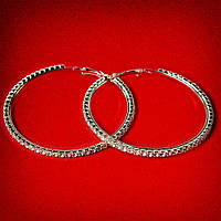 Серьги-кольца итальянский замок с белыми стразами большого размера светлый металл d-65мм
