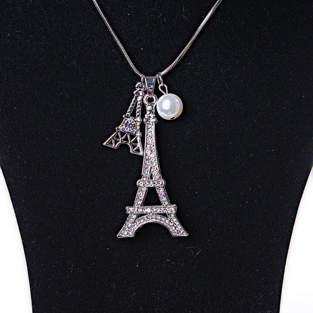 Подвеска на цепочке Эйфелева Башня и жемчужина со стразами металлик