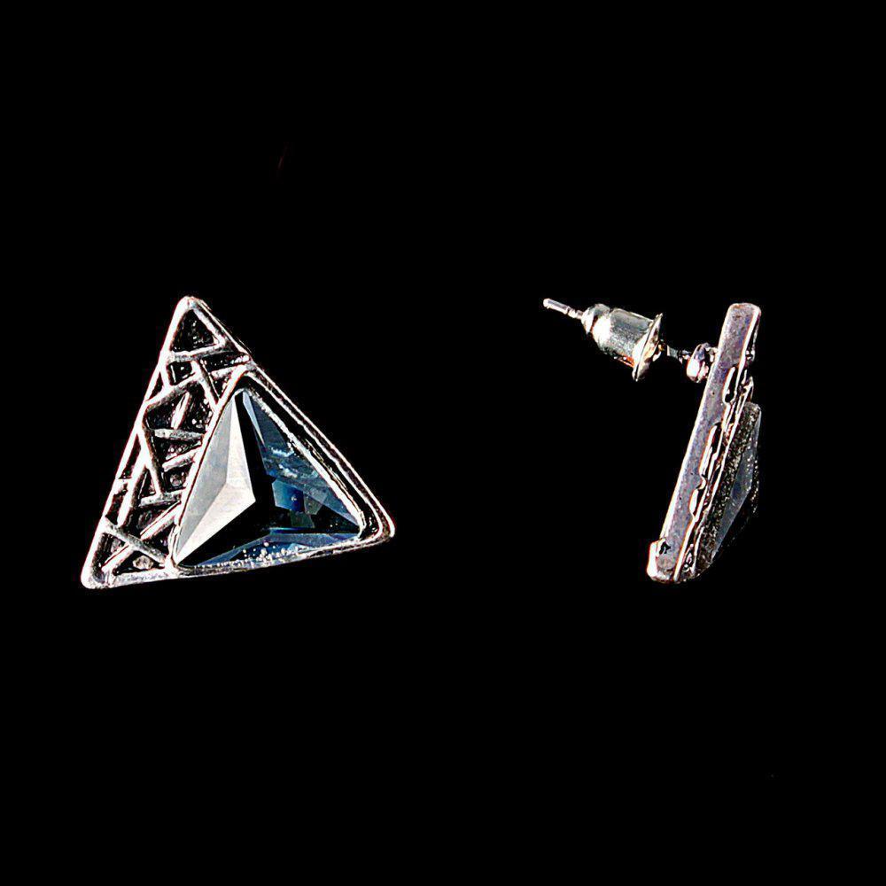 """Серьги - пусеты """"Пирамидки"""", с голубыми кристаллами под """"серебро"""" \ 20мм"""