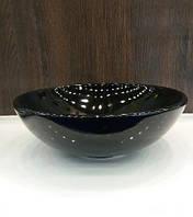 Чорний круглий умивальник на стільницю 42 см Newarc Countertop 5010B, фото 1