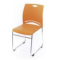 Стул офисный на полозьях Плейфул CH оранжевого цвета из пластика