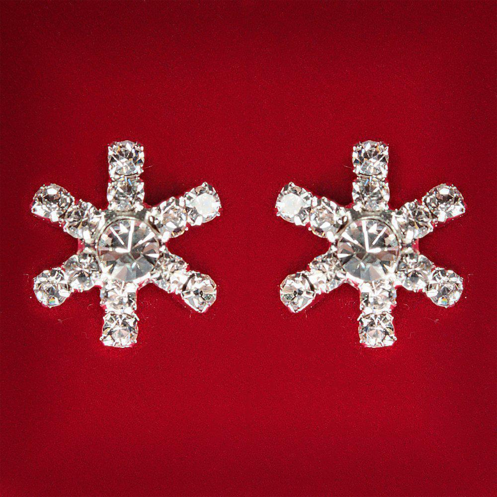[15x15 мм] Серьги женские белые стразы светлый металл свадебные вечерние гвоздики (пусеты ) снежинка мини