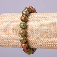Браслет из натурального камня Гелиотроп шарик d-10мм обхват 18см на резинке