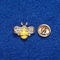 """Брошь на вкрутке """"Желтая Пчелка"""" металл золотистый 1,5х2см"""