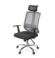 Кресло офисное на колесиках Сити CH SR серого цвета из ткани