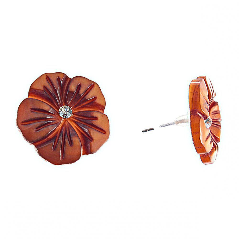 """Серьги-гвоздики нат. перламутр со стразом """"ШоколадныйЦветок"""" серебристый металл, ?20mm"""