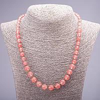 Бусы из натурального камня Халцедон розовый на увеличение гладкий шарик d-6-10мм L- 50см