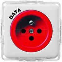 Розетка с центральным контактом заземления DATA с ключом16А/230В Regina (белая)