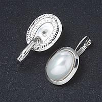 Серьги жемчуг Майорка гладкая оправа овальный камень 2,3*3,2см L-4см