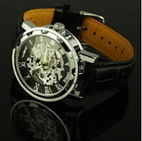 Мужские часы Winner Black черные скелетон Skeleton Механика