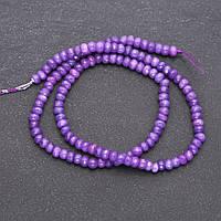 """Бусины из натурального камня """"Аметист"""" (имитация) светло фиолетовый граненный рондель d-4,5х3мм нитка L-38см"""
