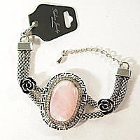 Браслет Греческий узор стразы - бусины, розы Розовый Кварц - овальный 25 мм