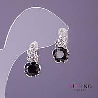 Серьги Xuping черные камни d-10мм L-18мм цвет серебро