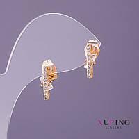 Серьги Xuping гвоздики полоса белые стразы d-3мм L-14мм цвет золото