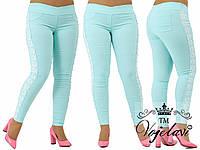 Лосины женские стрейч-джинс + кружево макроме + жемчуг зажат крабиком.(баталы)
