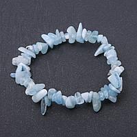 Браслет натуральный камень Аквамарин крошка на резинке d-7 мм обхват 18,5 см